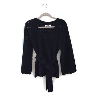 TIBI Black mesh wool sweater with waist tie belt